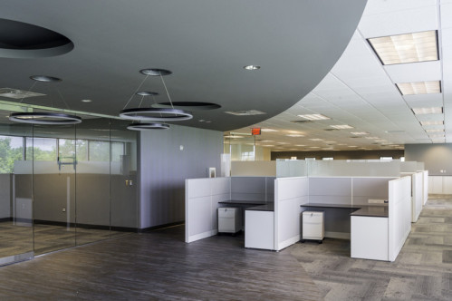 Office with Custom Drywall Soffit Feature
