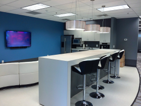 White and Blue Break Room